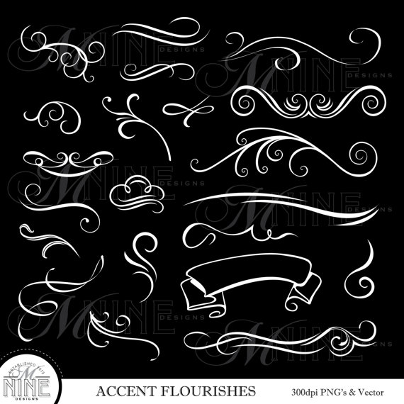 WHITE ACCENT FLOURISHES Digital Clipart, Instant Download.