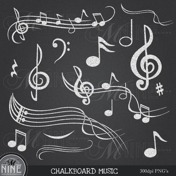 Chalkboard MUSIC NOTES Digital Clipart Musical Accent.