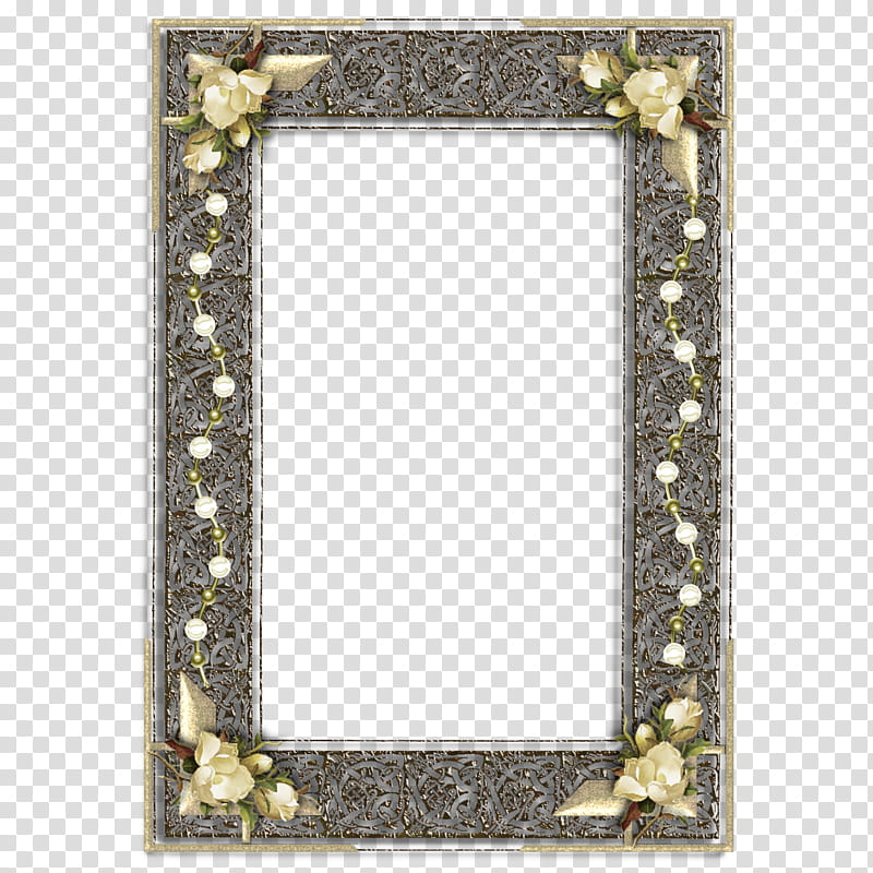 Decorative frames , rectangular gray border with flower.