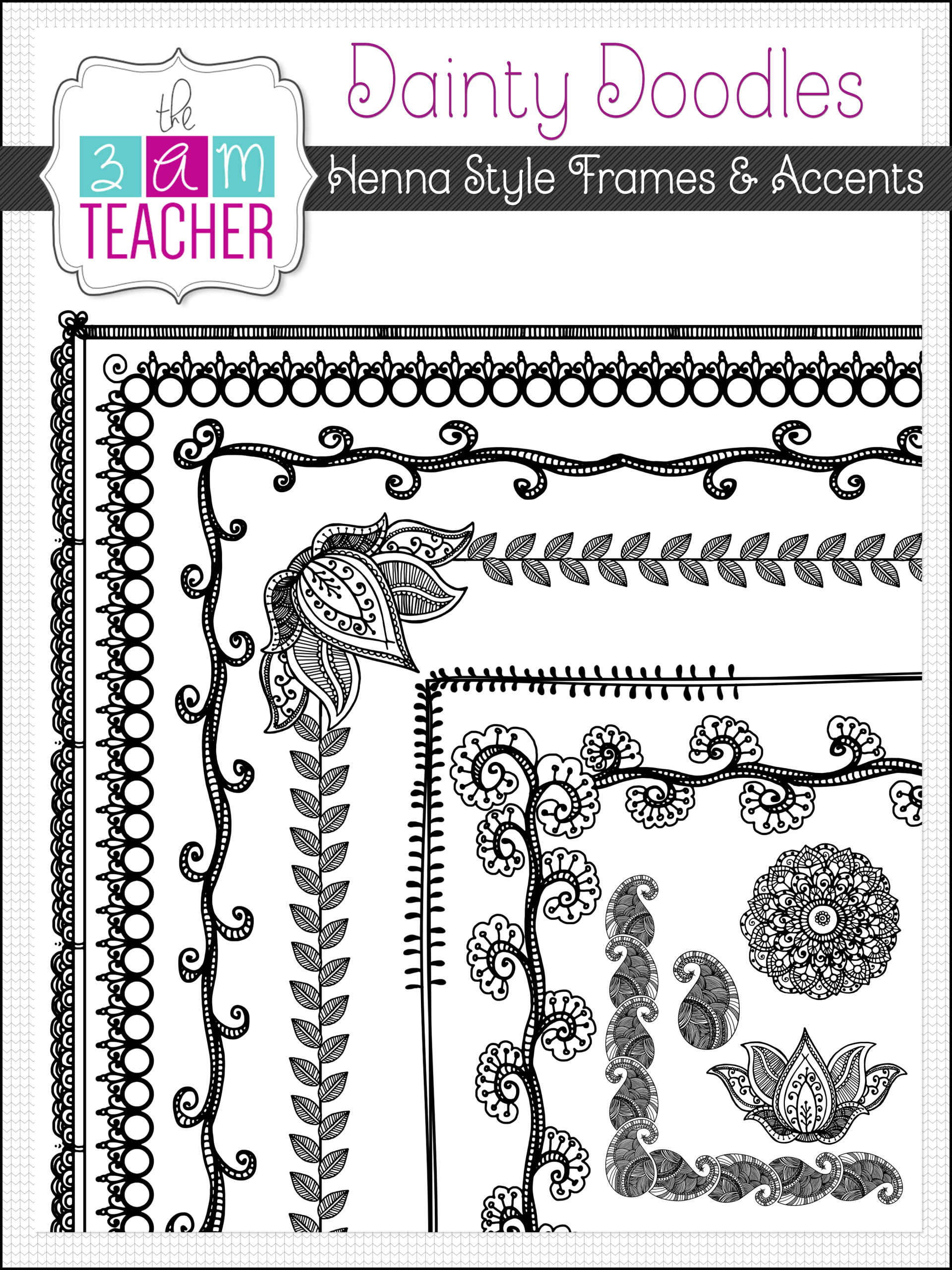 Doodle Frames: Henna Style, Borders Accents Clipart Set.