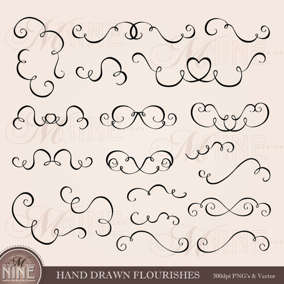 HAND DRAWN FLOURISH Clip Art: Accent Clipart Design Elements.