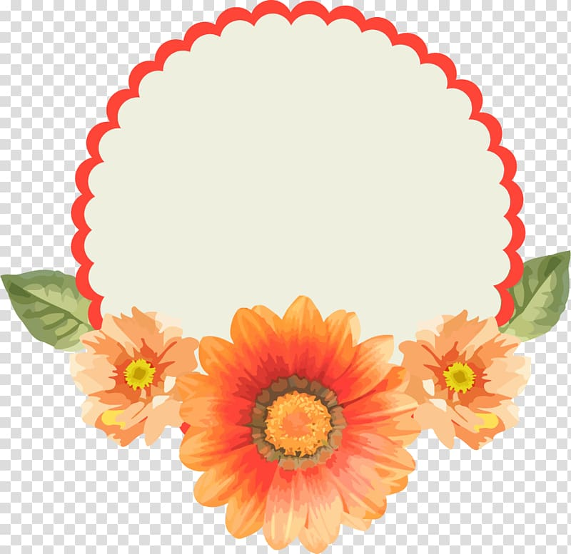 Round red frame with orange flowers accent , Paper Label.
