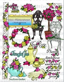 Clip Art: Volunteer Tea Rose Garden Clipart by HeatherSArtwork.