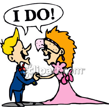"Royalty Free Clipart Image: Bride and Groom Saying ""I Do"" Clip Art."