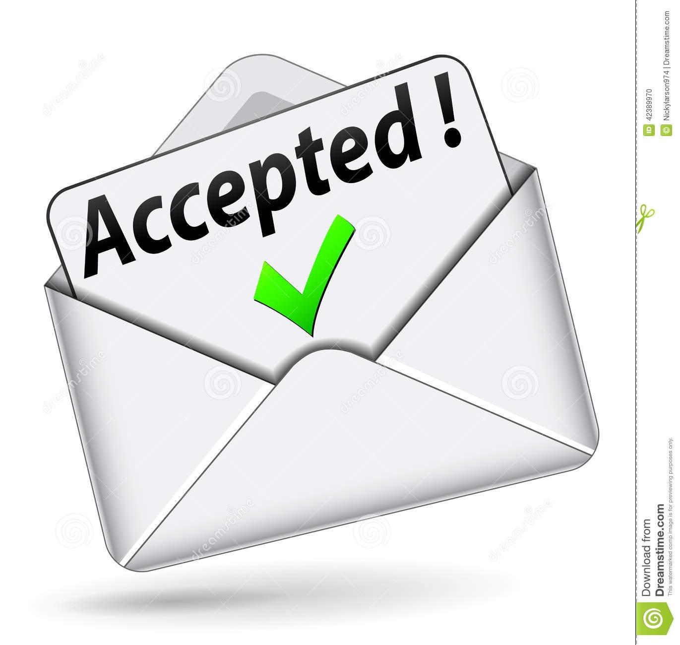 Acceptance letter clipart.
