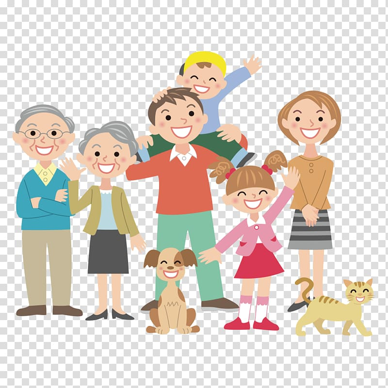 Man standing with family members illustration, Editorial.