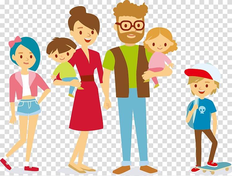 Family illustration, Cartoon , happy family transparent.