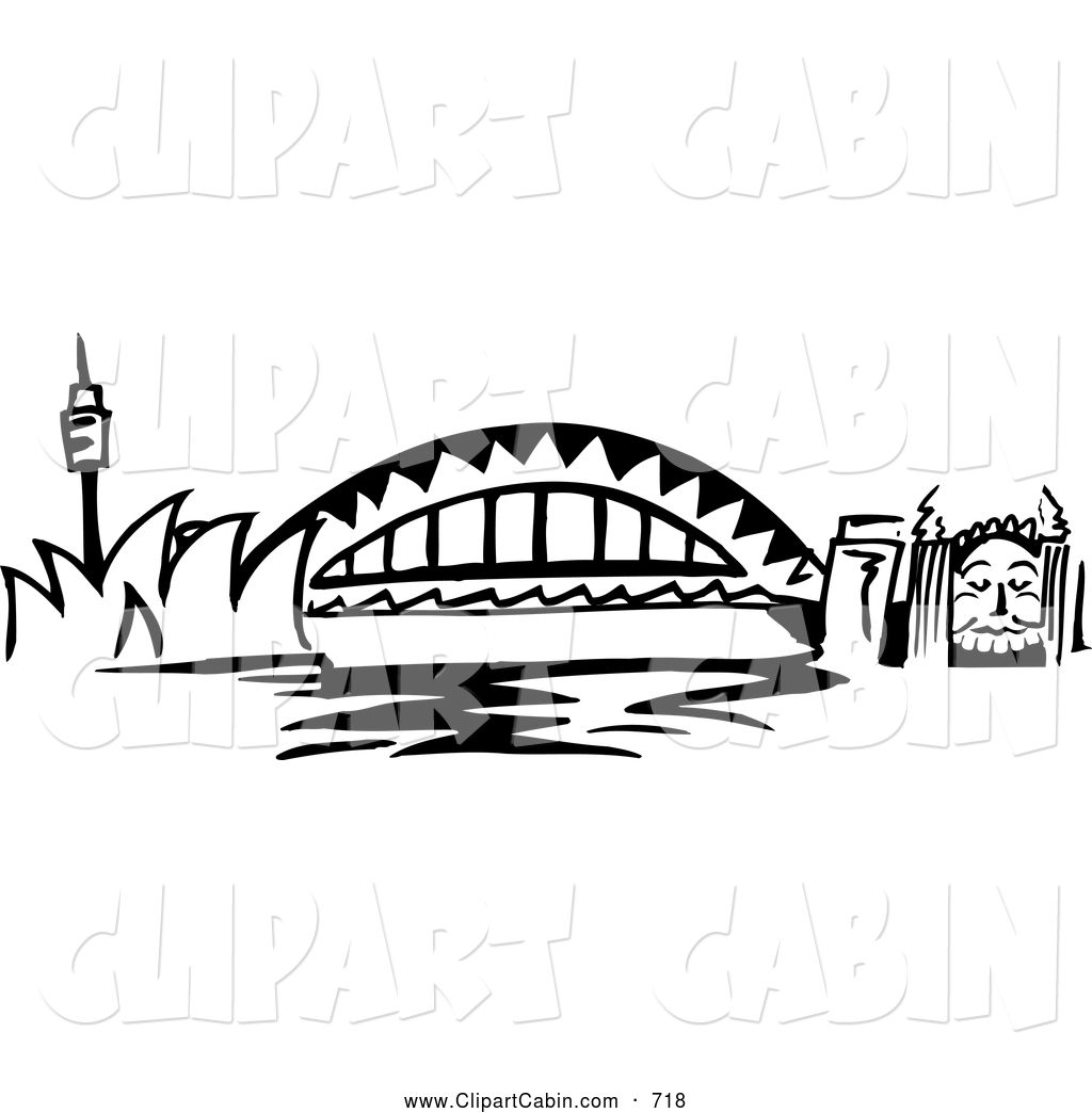Vector Clip Art of a Black and White Arched Sydney Harbour Bridge.