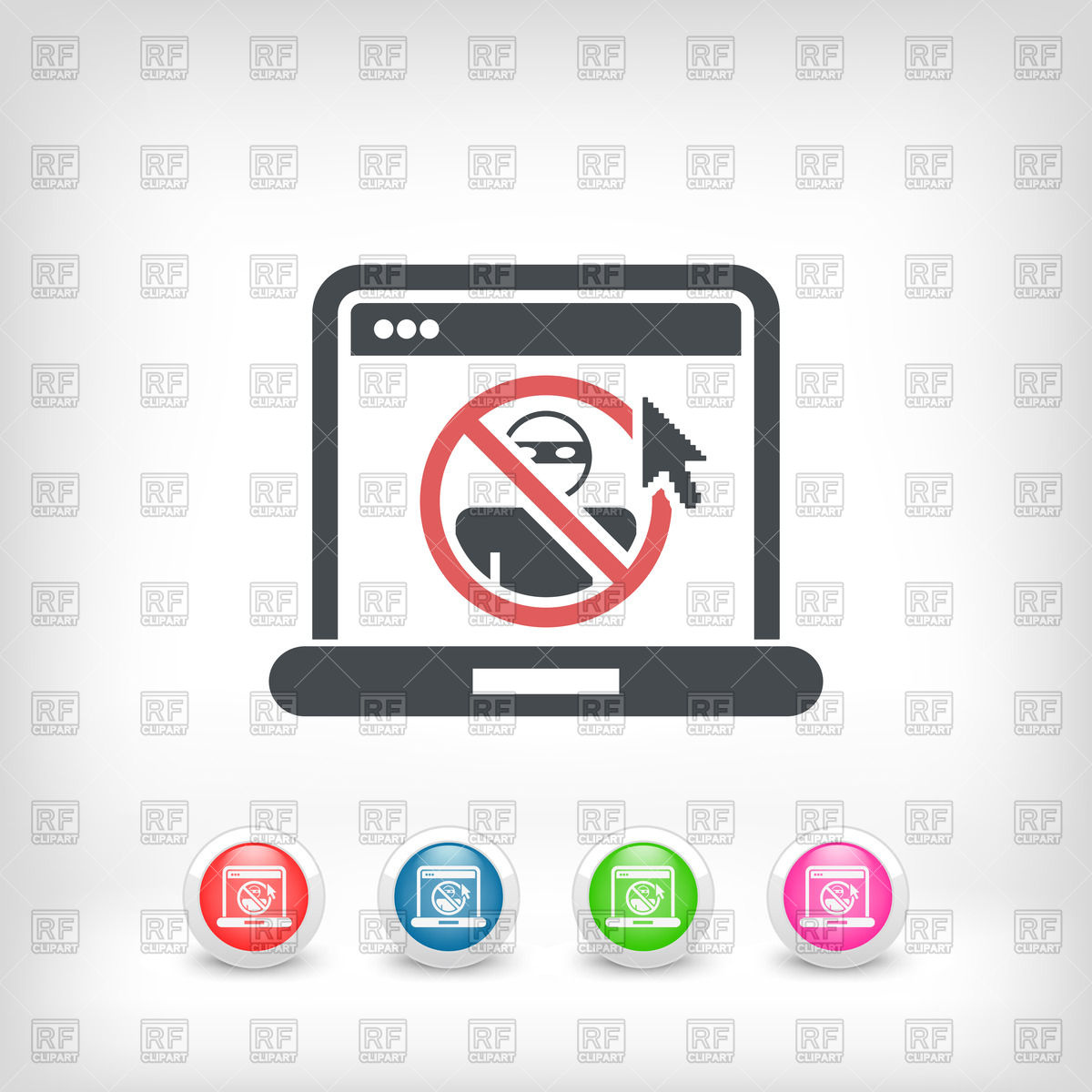 Web access data protection icon on laptop Vector Image #62844.
