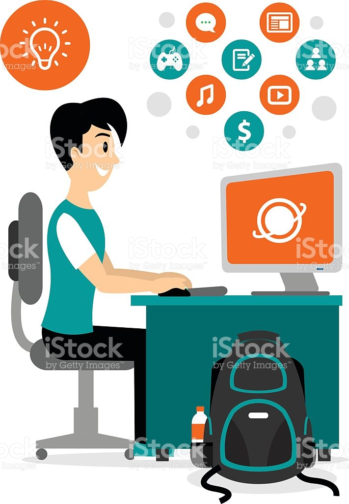 Teenage Boy Browsing Internet To Access Any Contents Clipart stock.