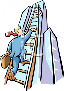 Businessman Climbing The Ladder of Success.