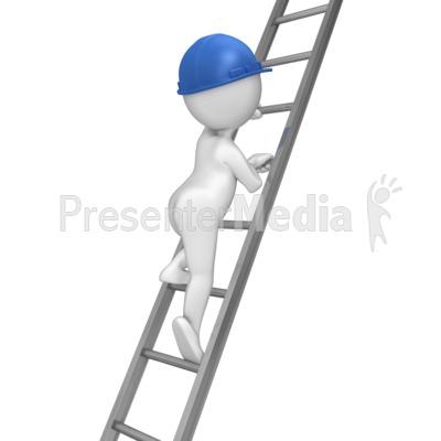 Stick Figure Climbing Ladder.