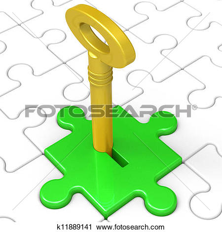 Clipart of Key In Lock Showing Protected Access k11889141.