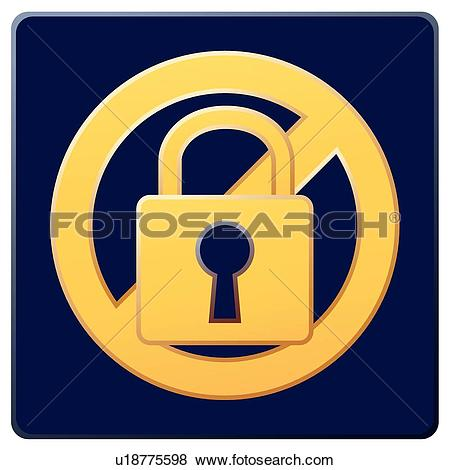 Clip Art of access restricted, icons, warning, restriction, locked.