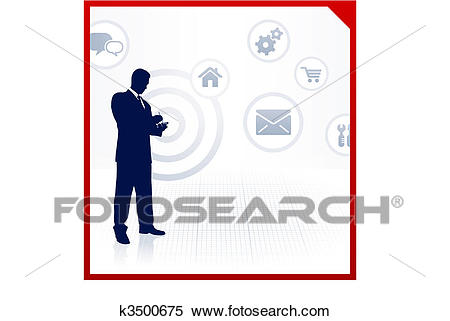 Businessman accessing internet on cell phone Clipart.