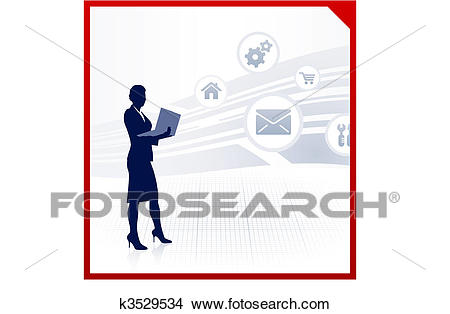 Businesswoman working accessing internet on laptop Clipart.