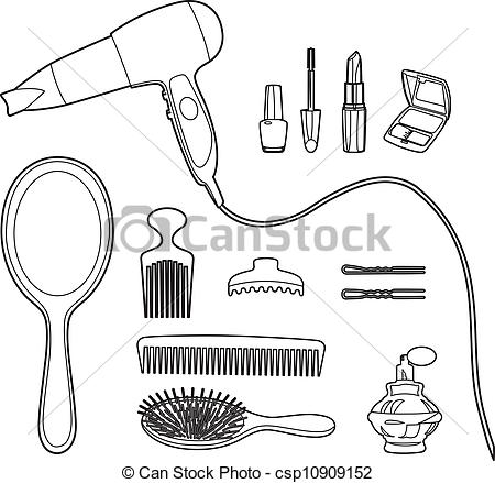 Clipart Vector of Drawing beauty accessoires.