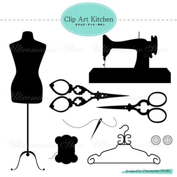 Printable Digital clip art : Sewing Set.