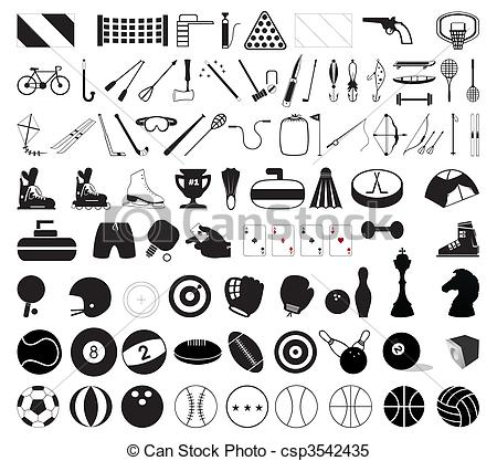 Clipart Vector of Collection of various sports accessories. A.