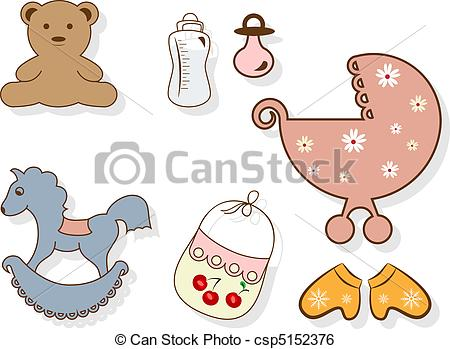 Clip Art Vector of Baby set.