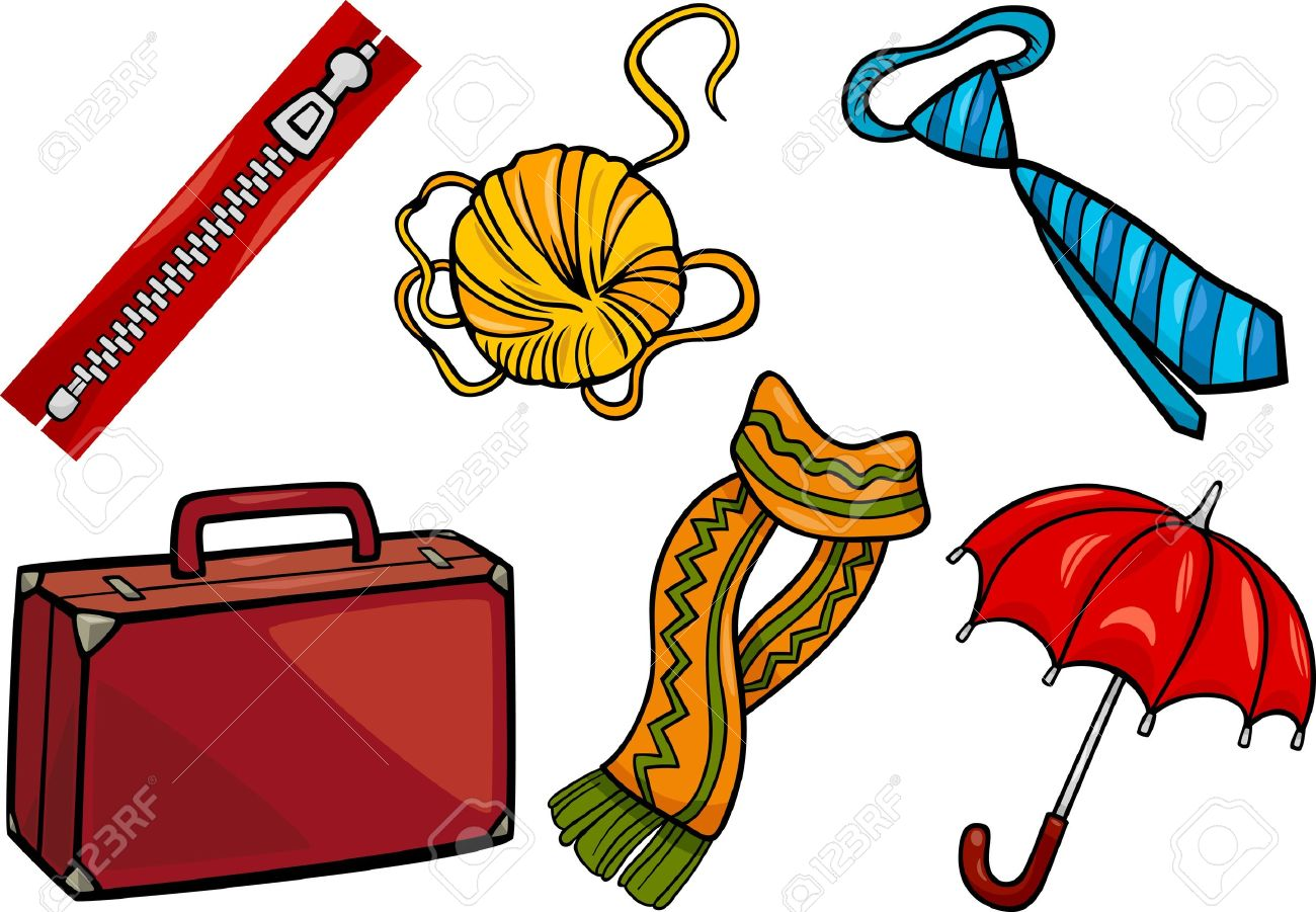 Cartoon Illustration Of Different Household Objects And Clothing.