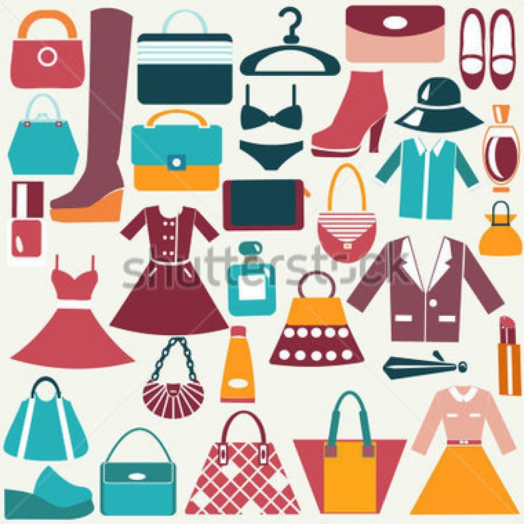clothes and accessories vintage icons color flat icon of fashion.