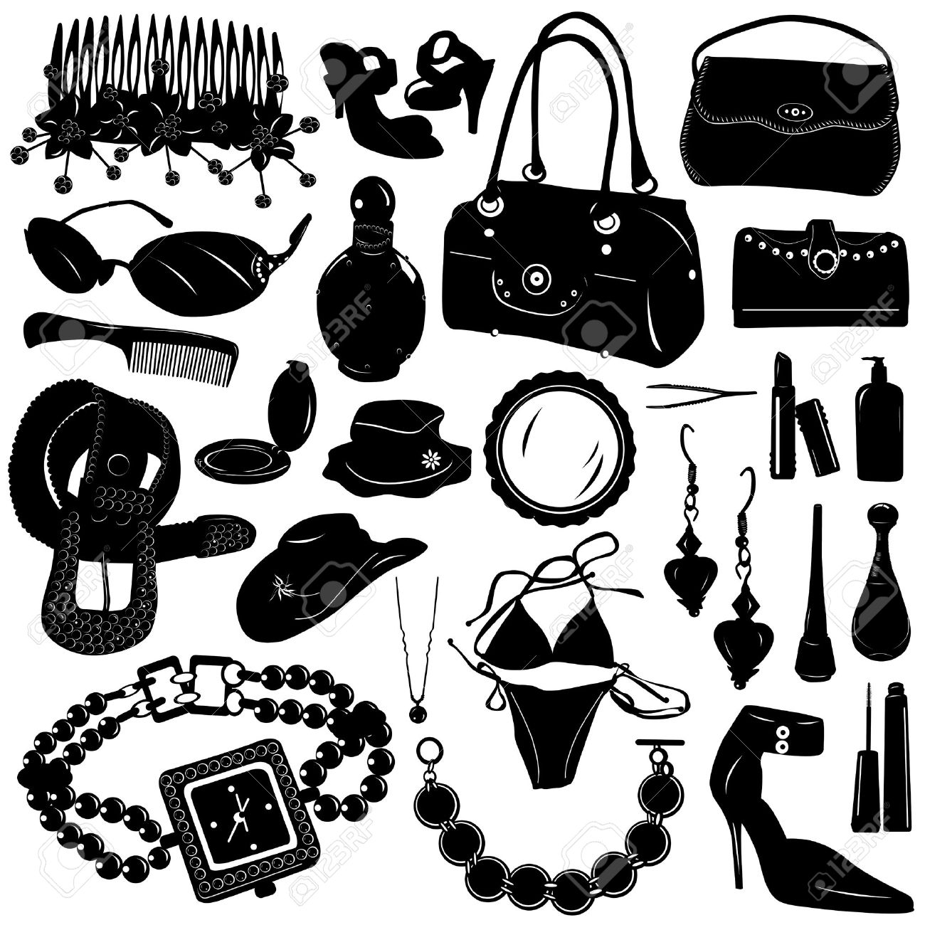 Collection Of Women Accessories Vector Royalty Free Cliparts.