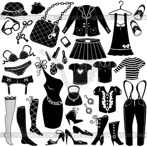 Woman`s clothes, Fashion and Accessory icon set.
