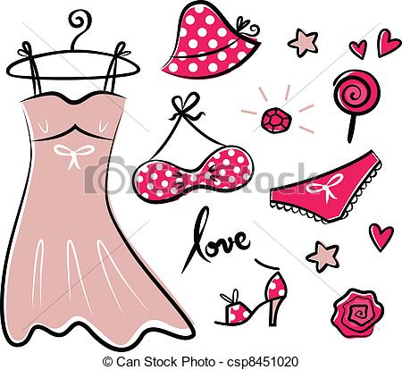 Vector Clipart of Fashion retro red icons and accessories for.
