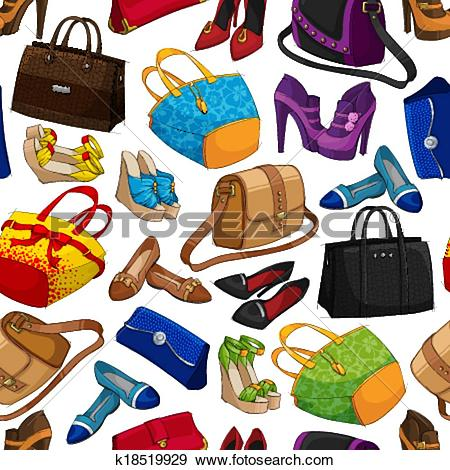 Clip Art of Seamless woman's fashion accessory wallpaper k18519929.