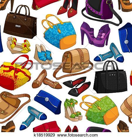 Clip Art of Seamless woman's fashion accessory wallpaper k18519929.