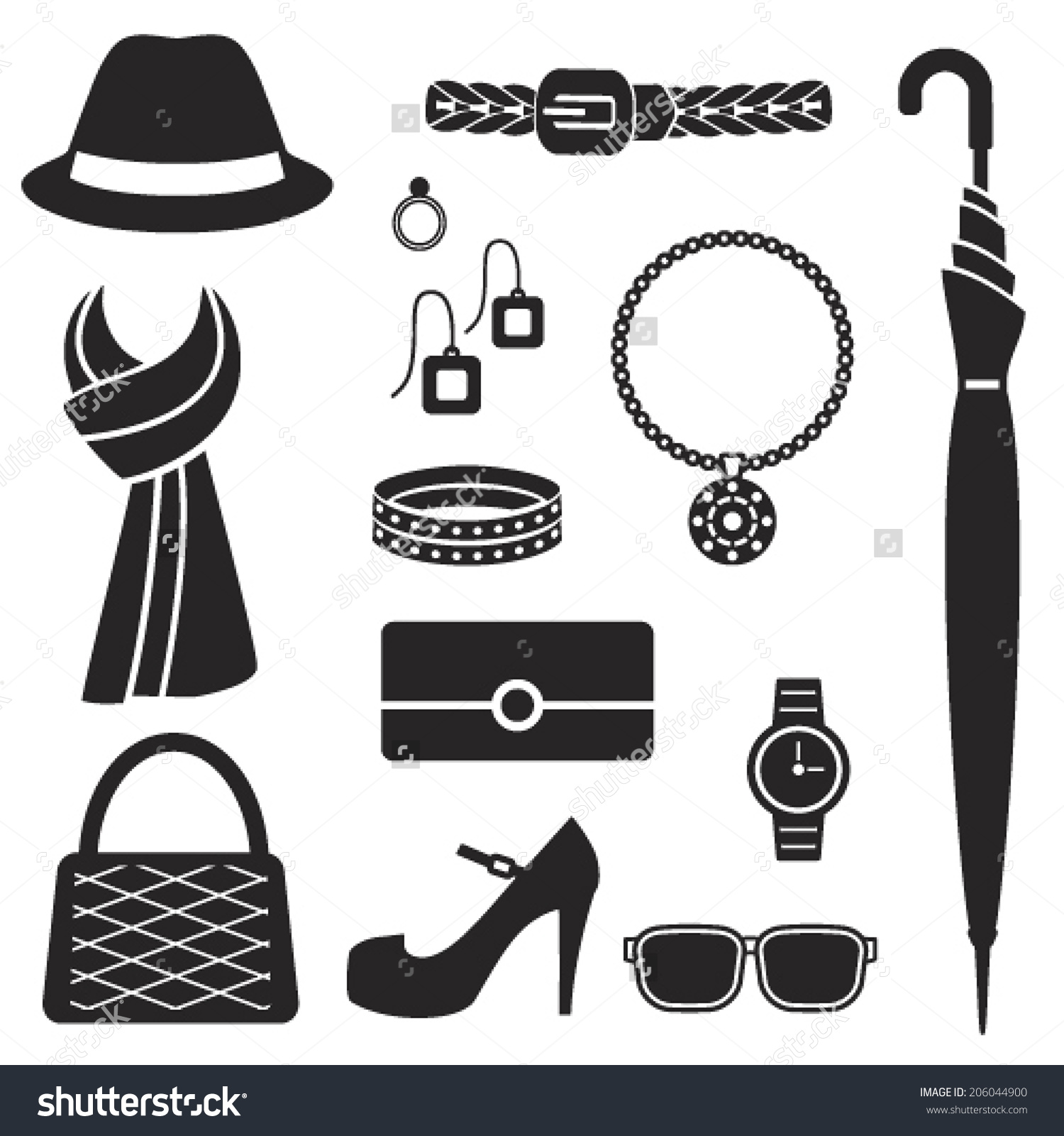 Fashion accessories clipart.