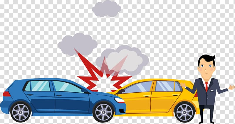 Traffic collision Car Accident Illustration, Crash scene transparent.