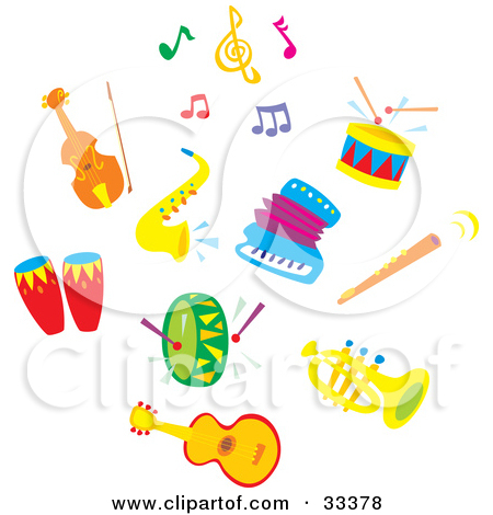 Set Of Colorful Music Notes A Cello Or Violin Sax Drums Acco By.