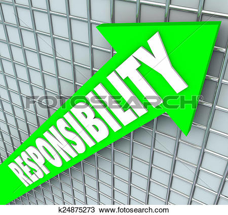 Stock Photo of Responsibility Word Green Arrow Rising Accepting.