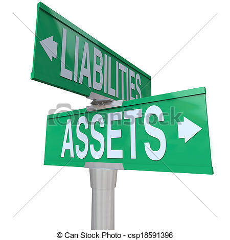 Stock Photographs of Assets Vs Liabilities Two Way Road Street.