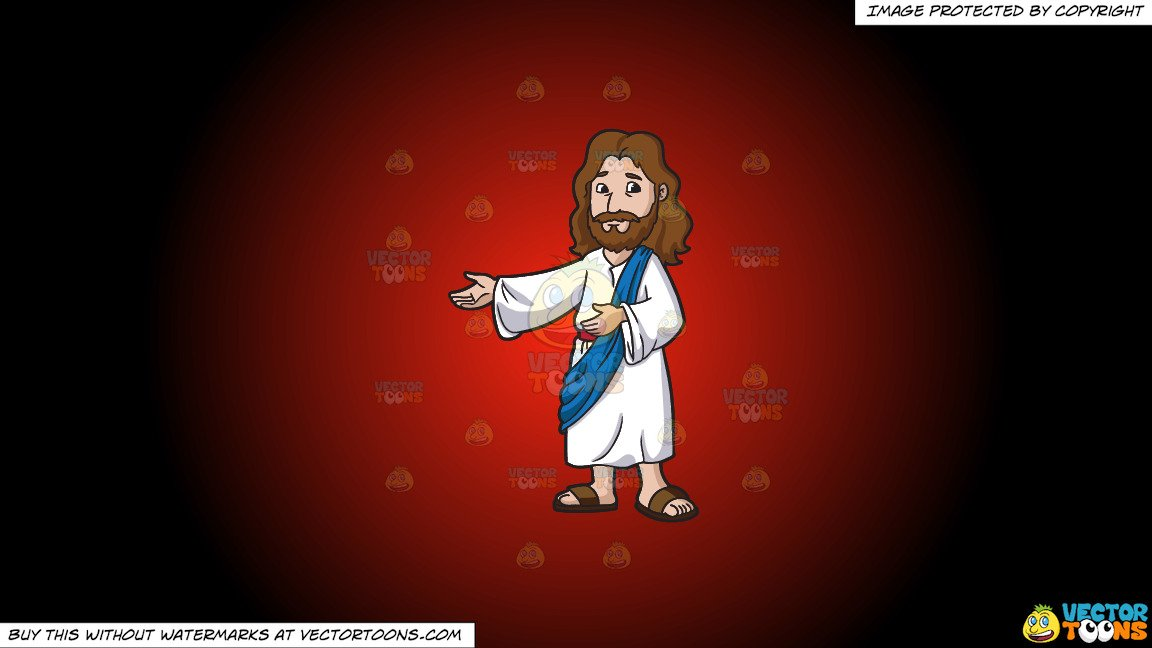 Clipart: Jesus Christ Being Happy And Accommodating on a Red And Black  Gradient Background.