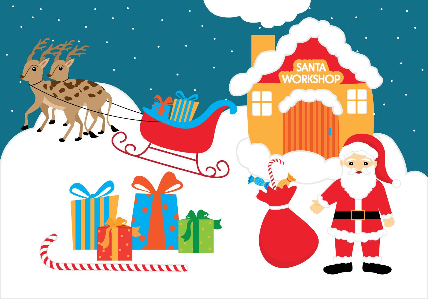 Santa\'s workshop with some gifts accompanied by his reindeer.