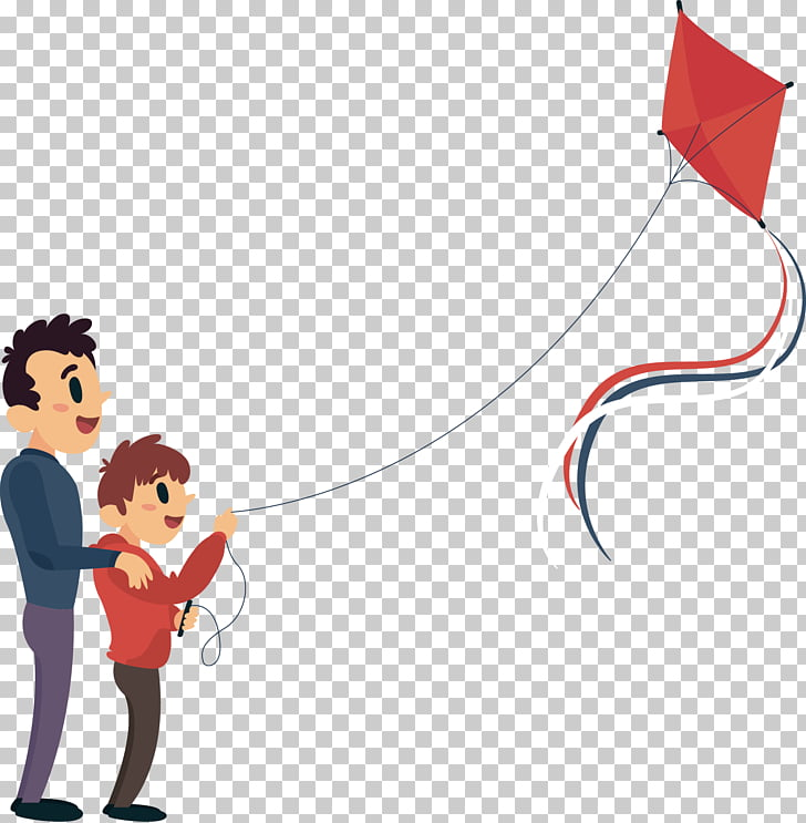 Cartoon , To accompany his son to fly a kite, father and son.