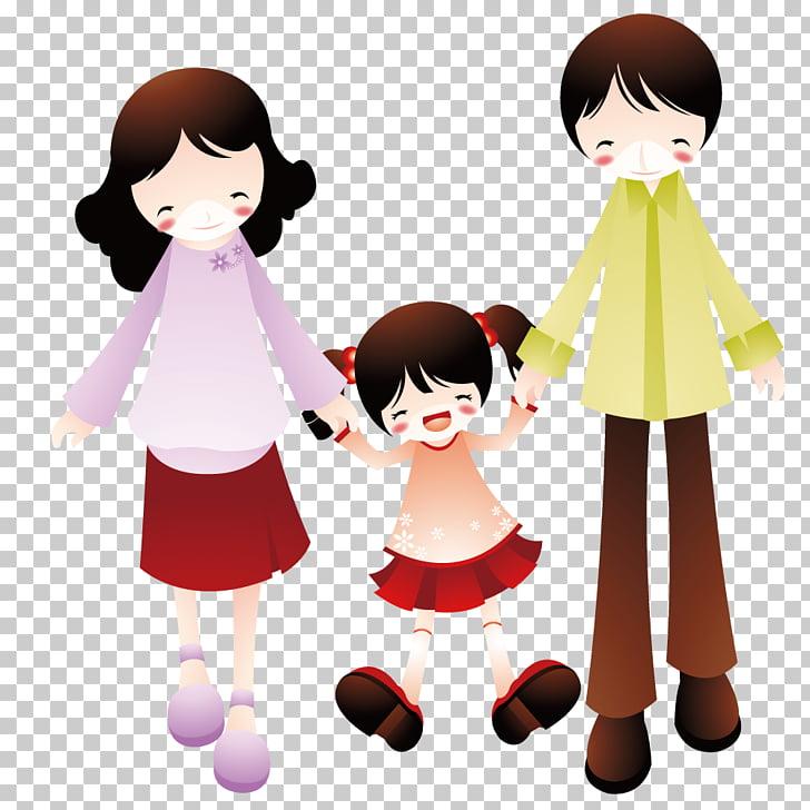 Child Cartoon Painting Illustration, Parents accompany their.