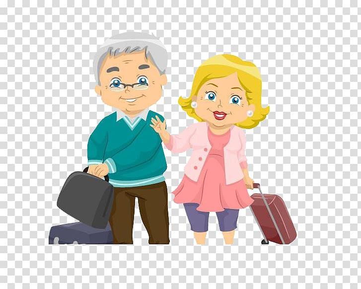 Cartoon Illustration, All the way to accompany the husband.