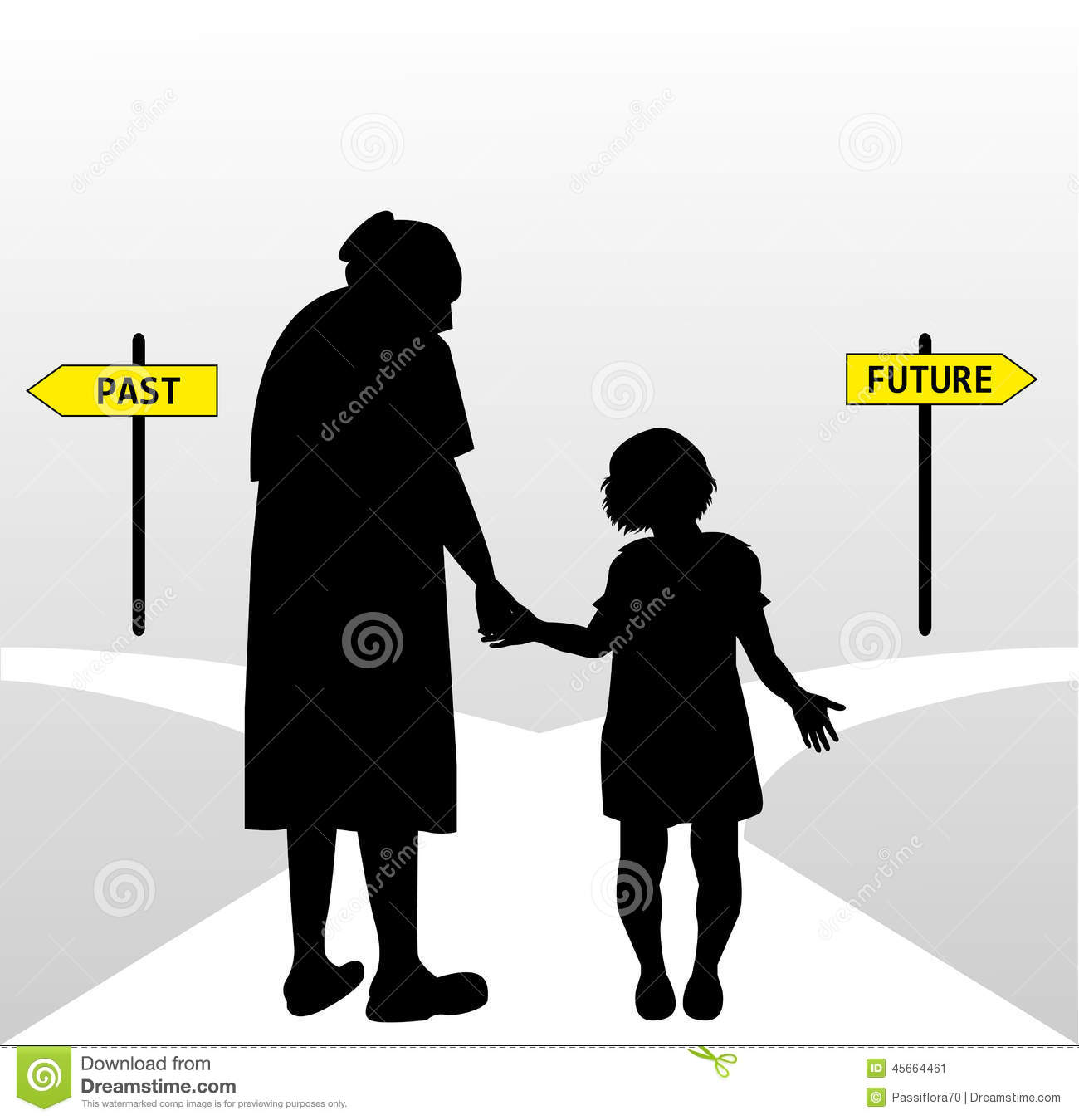 Old Woman And Child Stock Vector.