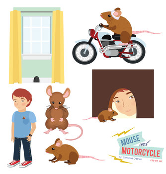 Mouse and Motorcycle Clip Art Set.