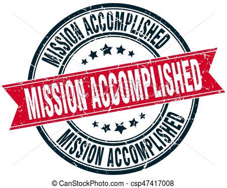 mission accomplished round grunge ribbon stamp.