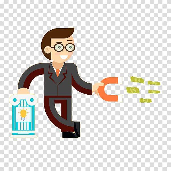 Money illustration Illustration, A man with a magnet.