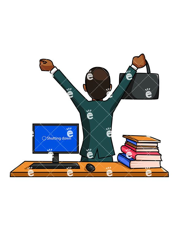 A Black Businessman Walking Away From His Desk And Cheering.
