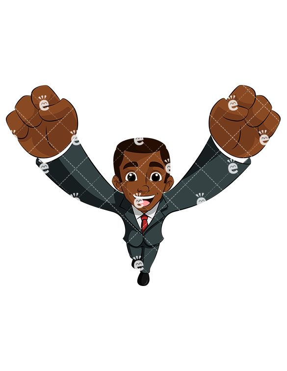 A Smiling Black Businessman Cheering At You.