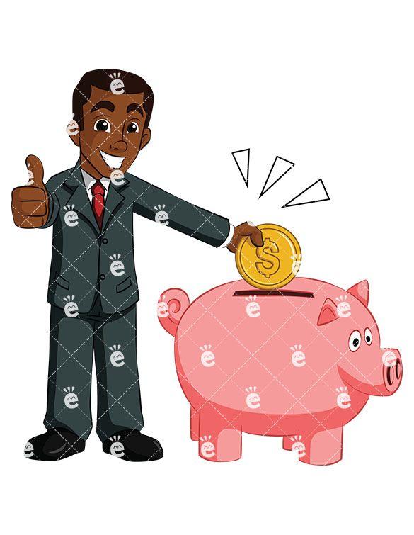 A Proud Black Businessman Dropping Money Into His Piggy Bank.