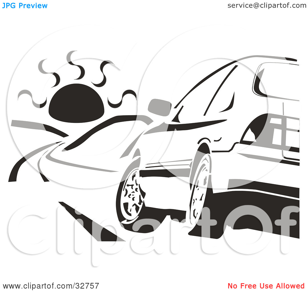 Clipart Illustration of a Black And White Honda Accord Driving.