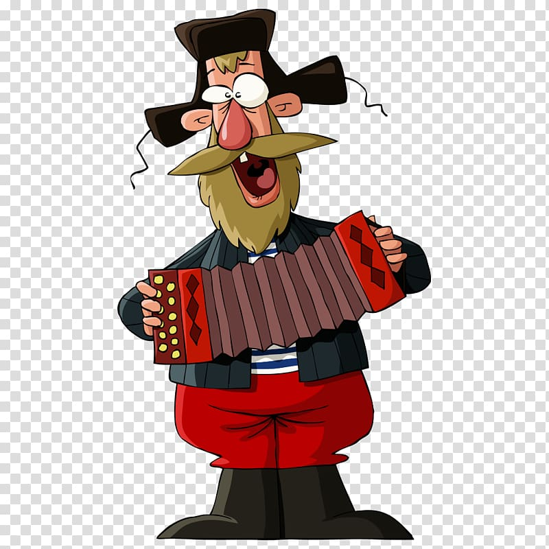 Russia , accordion man transparent background PNG clipart.